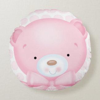 Little Girl Teddybear Round Pillow