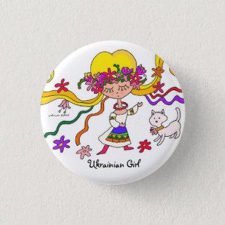 Little Girl Ukrainian Folk Art by Vera Trembach 1 Inch Round Button