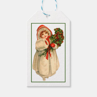 Little Girl White Fur Coat and bundle of Holly Pack Of Gift Tags