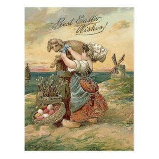 Little Girl Windmill Easter Egg Lamb Postcard