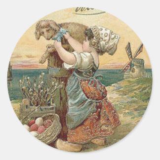 Little Girl Windmill Easter Egg Lamb Round Sticker