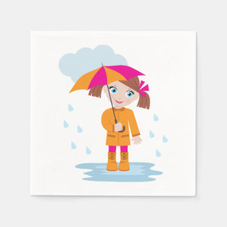 Little Girl With An Umbrella Paper Napkins