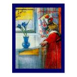Little Girl with Blue Iris Postcard