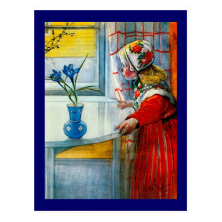 Little Girl with Blue Iris Postcard