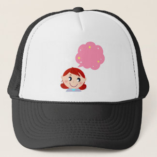 Little Girl with Bubble tshirt Trucker Hat
