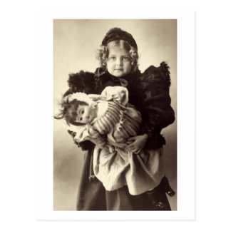 Little Girl with Her Doll, 1898 Postcard