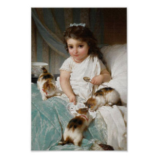Little Girl with Kittens Vintage Poster