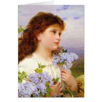 Little Girl with Lilac Bouquet Vintage Card