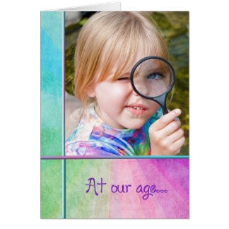little girl with magnifying glass birthday humor card