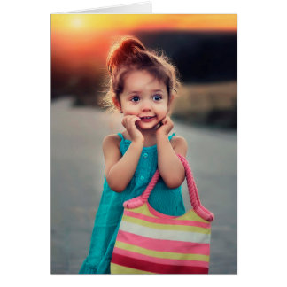 Little Girl with Pink Striped Handbag Card