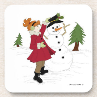 Little Girl with snowman Drink Coaster