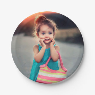 Little Girl with Striped Handbag Paper Plate