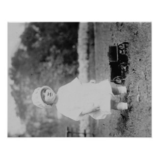 Little Girl with Toy Wagon Photograph Poster