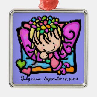 Little Girlie angel fairy with her baby Metal Ornament