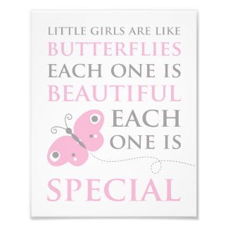 Little Girls Are Like Butterflies Pink Photo Print