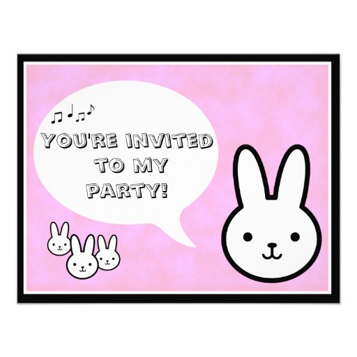Little Girl's Bunny Party Invitation
