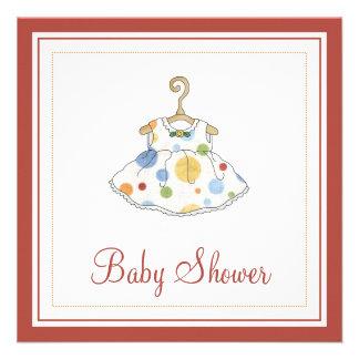 Little Girl's Dotted Dress Baby Shower Invitation