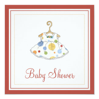 "Little Girl's Dotted Dress Baby Shower Invitation 5.25"" Square Invitation Card"