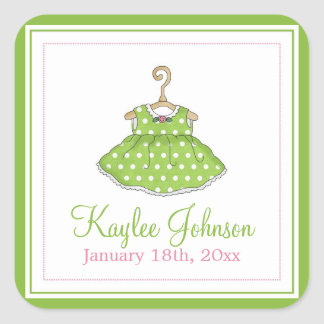 Little Girl's Green Dress Baby Birth Stickers