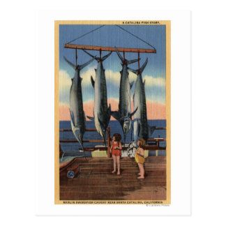 Little Girls Looking at Caught Swordfish Postcard