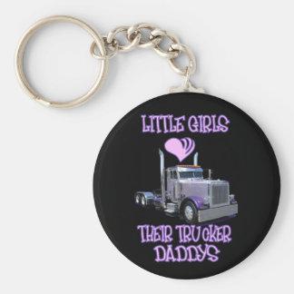 Little Girls Love Their Trucker Daddy's Basic Round Button Keychain