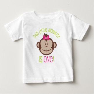 Little Girl's Mod Monkey 1st Birthday Shirt