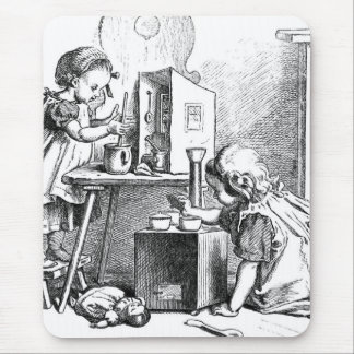 Little girls playing house etching mouse pad
