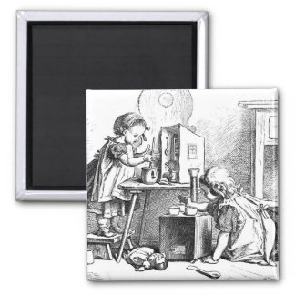 Little girls playing house etching square magnet