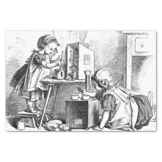 Little girls playing house etching tissue paper