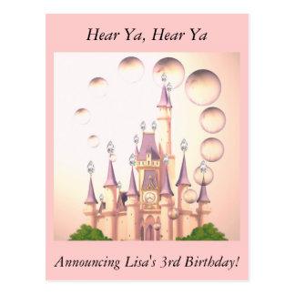 Little Girl's Princess Castle Birthday Invitations