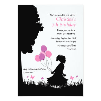 Little Girl's Silhouette with Balloons Birthday Card