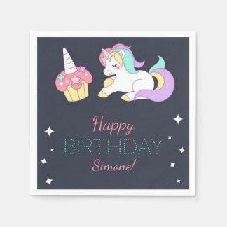 Little Girl's Unicorn Birthday Party Napkins Disposable Napkins