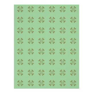 Little Gold Flowers on Mint Letterhead Template