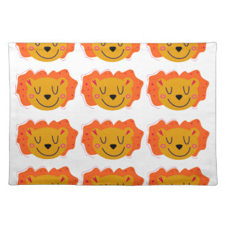 LITTLE GOLD LIONS ON WHITE PLACEMAT
