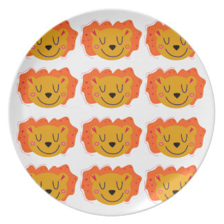 LITTLE GOLD LIONS ON WHITE PLATE
