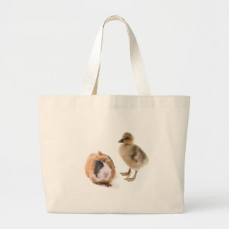 little goose and guinea pig large tote bag