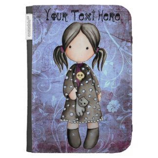 Little Gothic Girl with Skull Kindle Case