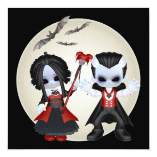 """Little Gothic Party 5.25"""" Square Invitation Card"""