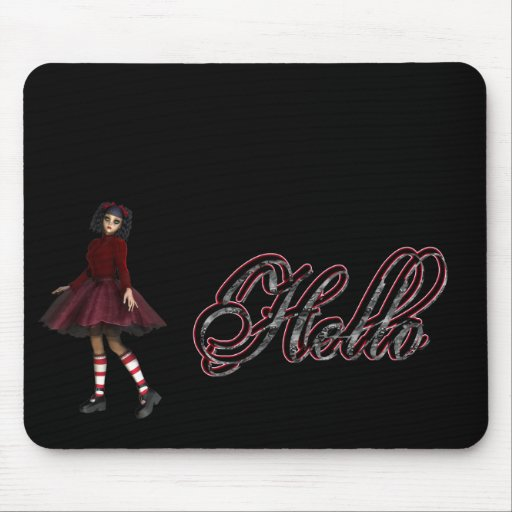 Little Gothy Girl Hello Mouse Pad
