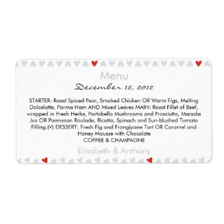 little gray & red hearts wedding menu shipping label
