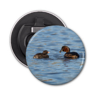 Little Grebe and Chick Button Bottle Opener