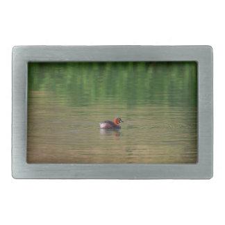 Little grebe duck in breeding plumage belt buckle