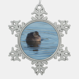 Little Grebe Pewter Snowflake Ornament
