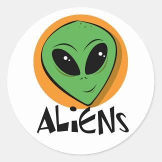 Little Green Alien Round Sticker