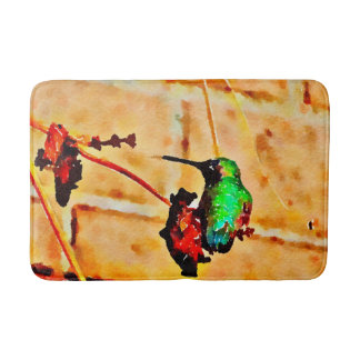 Little Green and Red  hummingbird Bath Mat