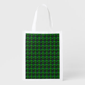 Little green Devil - Abstract pattern in Retrolook Reusable Grocery Bag