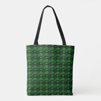 Little green Devil - Abstract pattern in Retrolook Tote Bag