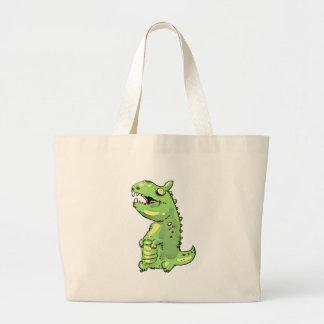 little green dinosaur cartoon large tote bag
