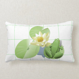 Little Green Frog Sitting on a Lily Pad Lumbar Pillow