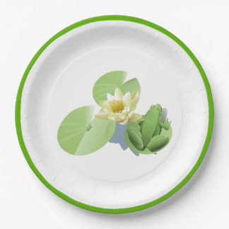 Little Green Frog Sitting on a Lily Pad Paper Plate